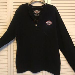 Harley-Davidson Black Long Sleeve shirt logos SZ S